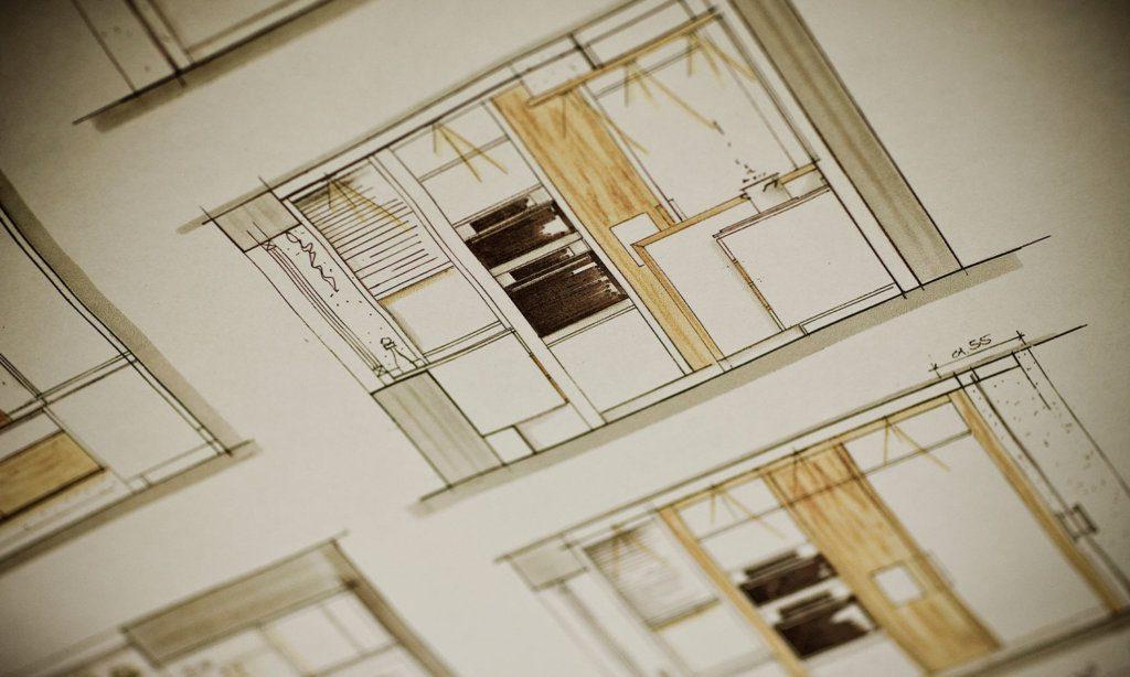 zeichnung Architektur Küche